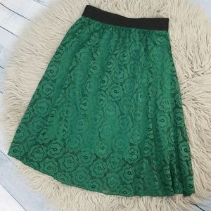 LuLaRoe Lola Emerald Green Lace Skirt size S